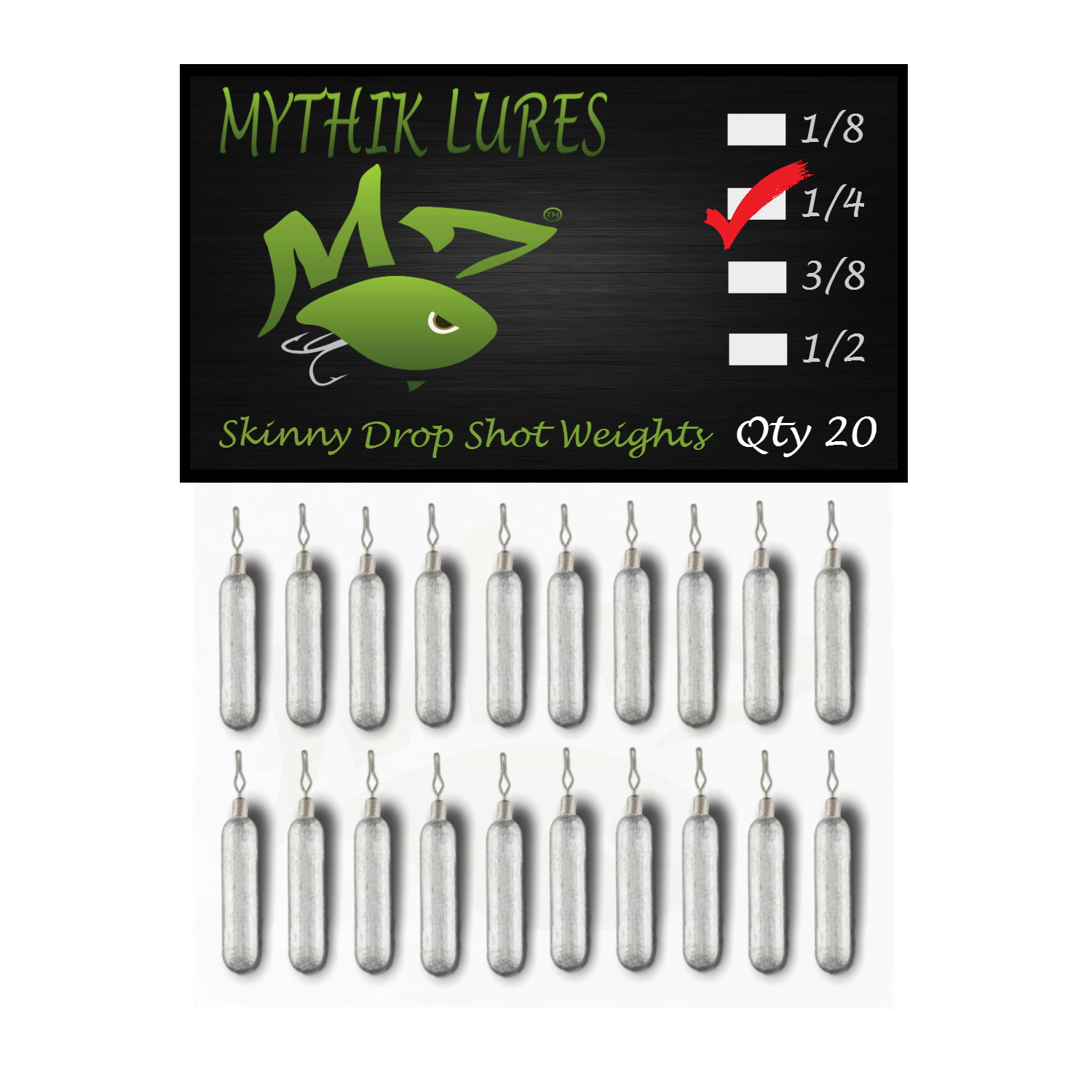 Mythik Lures Skinny Lead Drop Shot Weights 1/4 oz