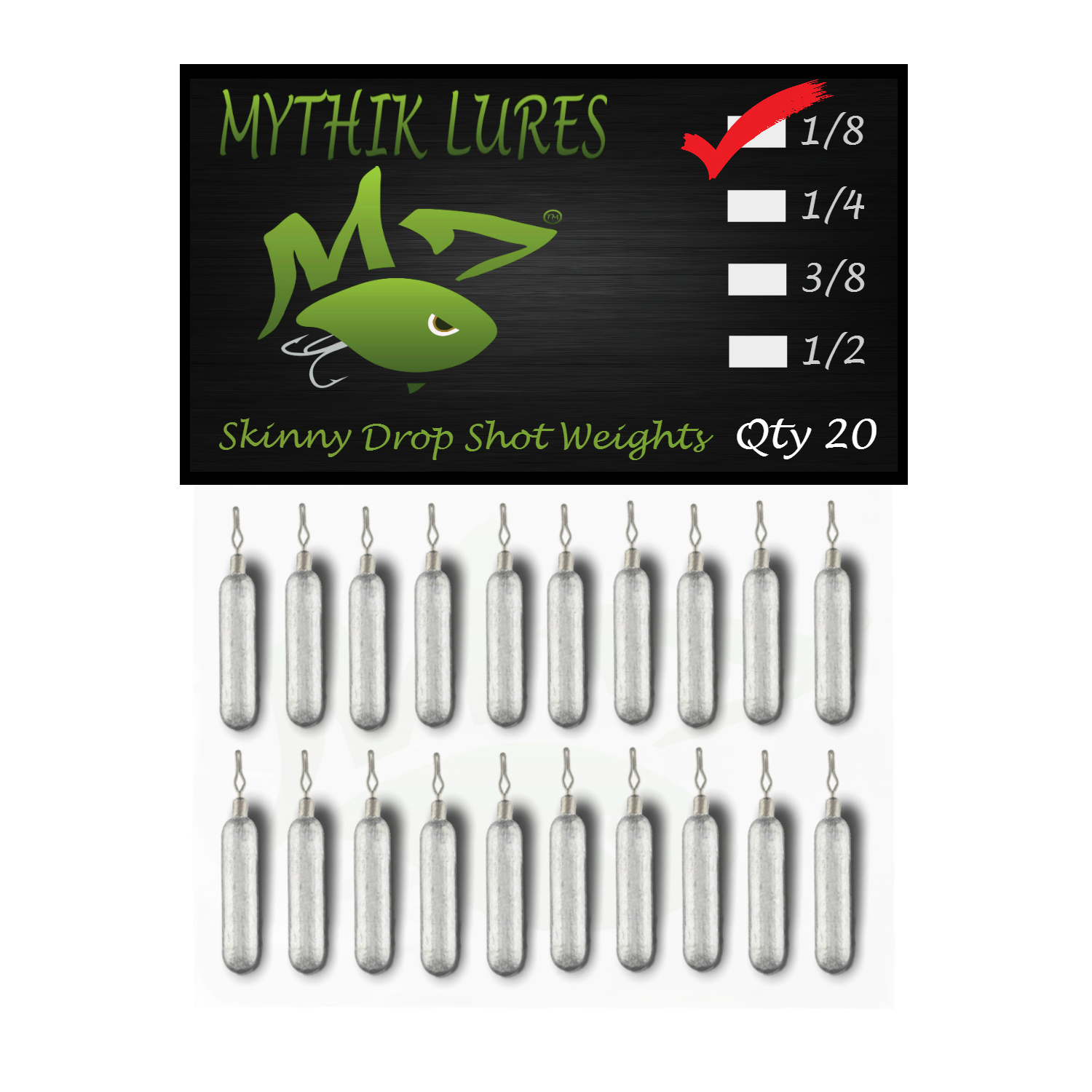 Mythik Lures Skinny Lead Drop Shot Weights - 1 - 3_8 oz